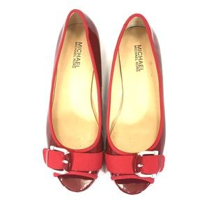 Michael Kors Red Patent Leather Peep Toe Flats